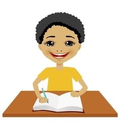 cute little black student boy writing vector image