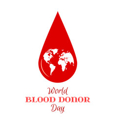 drop of red blood with planet earth icon vector image