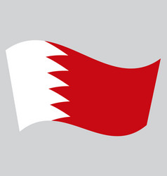 flag of bahrain waving on gray background vector image vector image