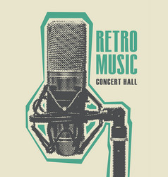 retro music poster with a realistic microphone vector image