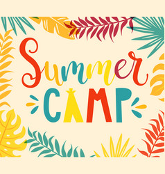 Summer camp handdrawn lettering vector