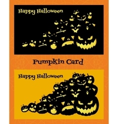 Two horizontal cards with pumpkins vector image vector image