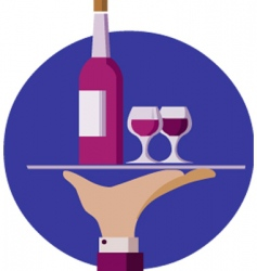 waiter with wine vector image vector image