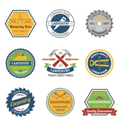 Carpentry color emblems vector image