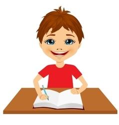 cute little caucasian student boy writing vector image