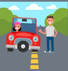 flat tire change vector image vector image