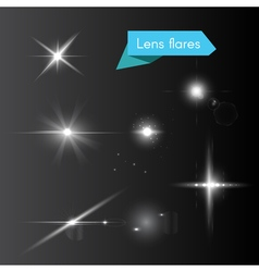 Glowing white flash elements vector image