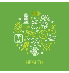 Health design template with line icons vector image vector image