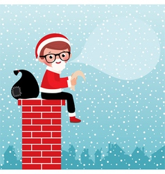 Santa Claus sitting on a chimney vector image vector image