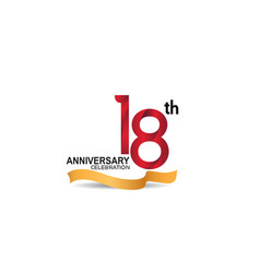 18 anniversary design logotype red color vector