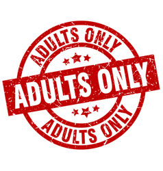 adults only round red grunge stamp vector image