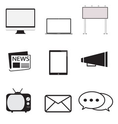Advertisement icons set in trendy flat style on vector