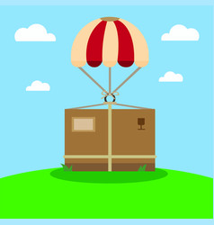 Airdrop package delivery in flat vector