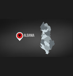 albania map high detailed regions borders vector image
