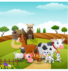 animals group at the path of farm vector image