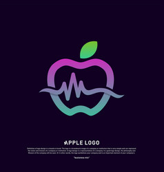 Apple with medical pulse logo concept health vector