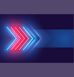 Arrow style neon light effect background design vector