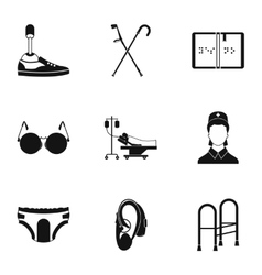 Assistance for disabled icons set simple style vector image