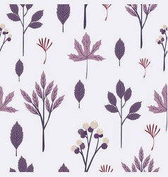 autumn leaves seamless pattern in purple toned vector image