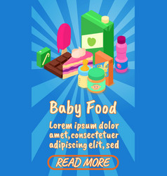 baby food concept banner comics isometric style vector image