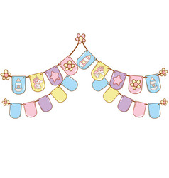 Baby pennants party vector