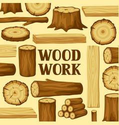 background with wood logs trunks and planks vector image