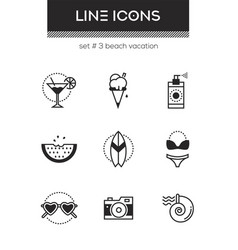 beach vacation - set line design style icons vector image