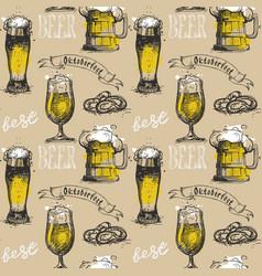beer glass seamless pattern oktoberfest festival vector image vector image