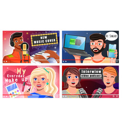 bloggers tell about new music cover modern vector image