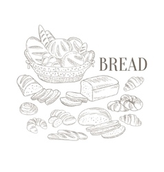 Bread Basket And Other Bakery Products Hand Drawn vector image