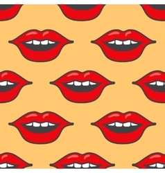 Bright red lips seamless pattern vector image