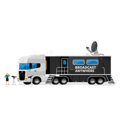 Broadcast truck isolated media broadcasting vector