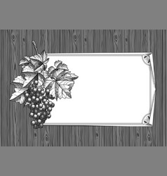 bunch grapes on old wood and desaturated vector image
