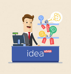 businessman selling his ideas in market ideas vector image