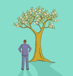 cartoon a man looking at money tree vector image