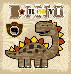 Cartoon dinosaurs army vector