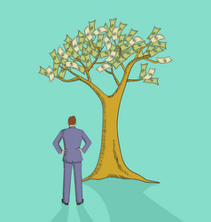 cartoon of a man looking at money tree vector image