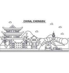 china chengdu architecture line skyline vector image