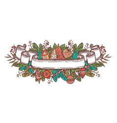 christmas doodle ribbon vector image