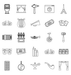 Cinema icons set outline style vector