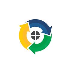 circle arrow home business logo vector image