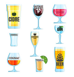 collection of various drinks and glasses with vector image