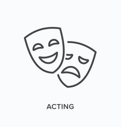 comedy and tragedy masks flat line icon vector image