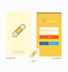 Company plaster splash screen and login page vector