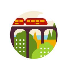 creative landscape with railroad bridge and train vector image