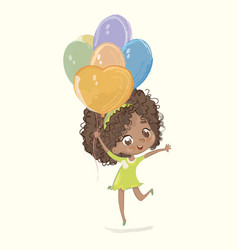 cute african-american happy girl with balloon vector image