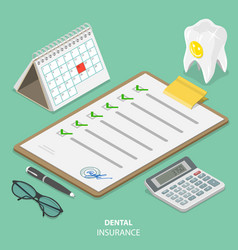 Dental insurance flat isometric concept vector