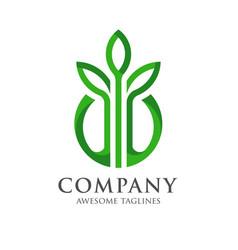 design shape leaf logo and circle green color vector image