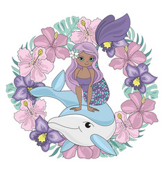 dolphin wreath floral mermaid animal illust vector image