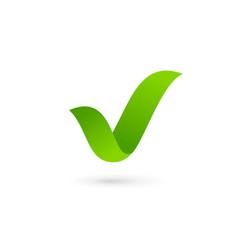 Eco leaves check mark logo icon design template vector